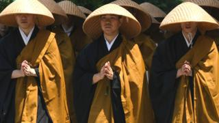 Japanese Buddhist Monks seen near the main temple of Jodo-shu Buddhism