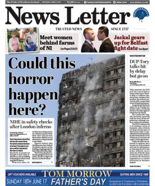The front page of the News Letter on Thursday