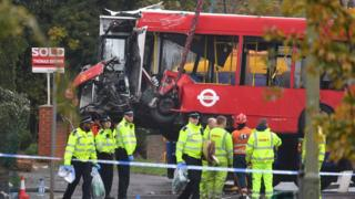 Bus involved in a crash, Orpington, London