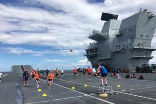 Bucketball on HMS Queen Elizabeth
