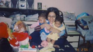 Dr Mitu Khurana with her twins when they were babies