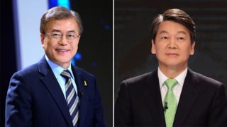 Moon Jae-in (left) and Ahn Cheol-soo