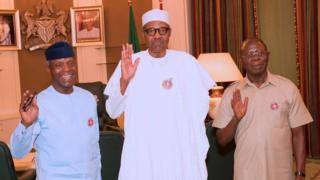 Shugaban Najeriya Muhammadu Buhari tare da mataimakinsa da kuma shugaban APC