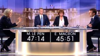 大統領選の決選投票を目前に、テレビ討論会に出演した両候補