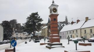And further east, here is the scene in Usk, Monmouthshire