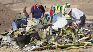 Wreckage from the Ethiopian Airlines plane crash