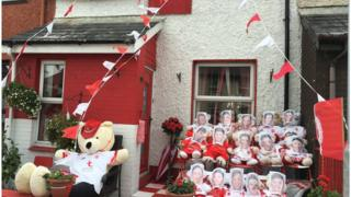 A house decorated in Tyrone colours