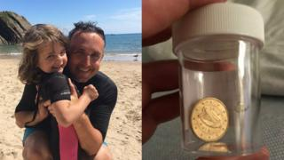 Alex Cole-Hamilton with daughter (left pic) and coin (right pic)