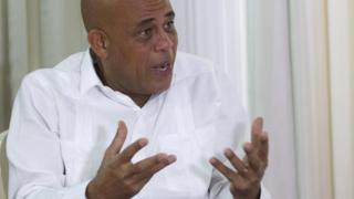 "Haiti""s President Michel Martelly in interview at the Presidential Palace"