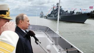 President Putin watches naval show at Baltiysk, 26 Jul 15