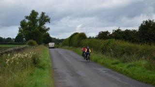 Cyclists on the Lakes and Dales Loop near Penrith