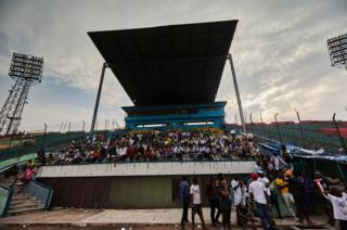 The spectator stands of the Stade Tata Raphael.