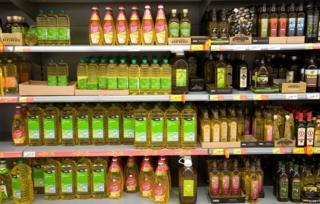 Assorted oil on a supermarket shelf