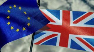 European Union and Union Jack flags