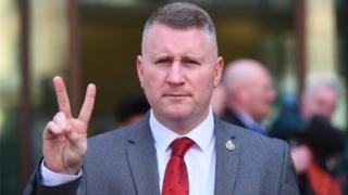 "Britain First leader Paul Golding outside Westminster Magistrates"" Court, London, on 27 Feb"