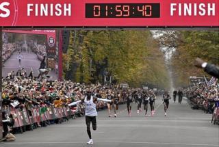 Eliud Kipchoge completes marathon in 01:59:40