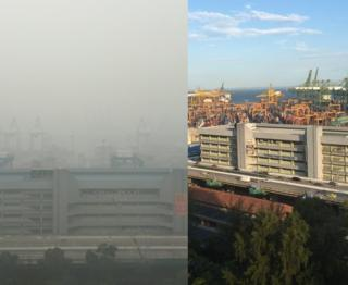 Singapore's port before and after haze