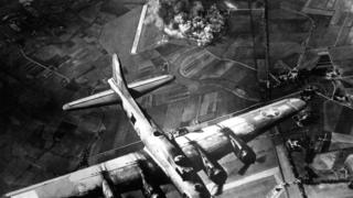 Aircraft bombing a factory in Germany