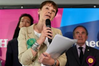 Caroline Lucas, co-leader of the Green Party, speaks after retaining her seat in the general election, in Brighton, June 9, 2017.