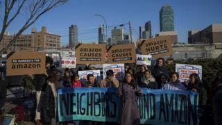 "Activists and community members who opposed Amazon""s plan to move into Queens rally in celebration of Amazon""s decision to pull out of the deal, in the Long Island City neighborhood, February 14, 2019 in the Queens borough of New York City."