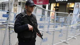 Turkish police at scene of bomb attack in Ankara. 14 March 2016