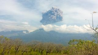 Mount Barujari, located inside Mount Rinjani volcano, is seen erupting from Bayan district, North Lombok, Indonesia in this September 27, 2016 photo taken by Antara Foto.