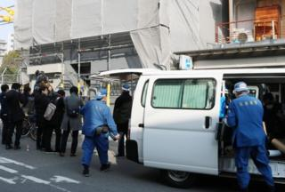 Hyogo prefectural police are pictured at the scene