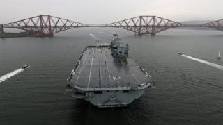 Second giant aircraft carrier sets sail from the Forth