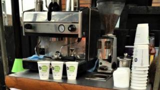 The coffee cart at Tile Hill station