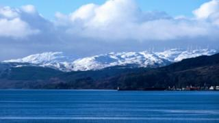 Ardrishaig and the Knapdale hills / Allt Dearg windfarm taken from Lochgilphead on Sunday