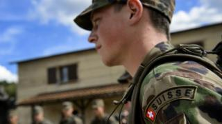 Close up of a Swiss army recruit during training