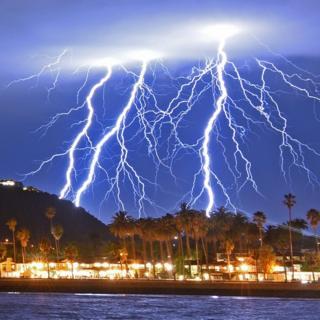 More forks of lightning over Stearns Wharf in Santa Barbara