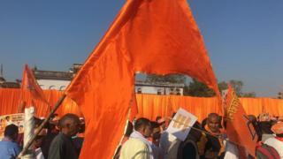 अयोध्या में हिंदू संगठनों के कार्यकर्ता