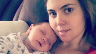 Alexandra Loredana with her baby Dominic