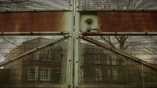 Metal gates at Medomsley detention centre