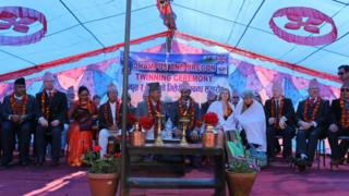 Twinning ceremony in Brecon