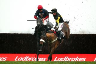 A horse race at Newbury