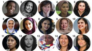 Images of many of the BBC's 100 Women 2019
