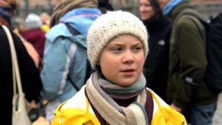 Greta Thunberg at a protest in front of Sweden's parliament in Stockholm on 8 March 2019