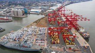 Aerial shot of the Port of Liverpool