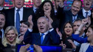 Netanyahu em evento de campanha