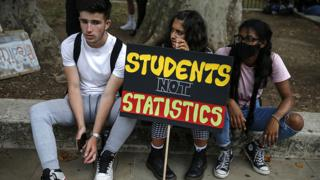 Students protesting against A level marking, 14 August 2020