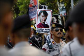 Protesta contra Aung San Suu Kyi en Yakarta, Indonesia, el 8 de septiembre de 2017.
