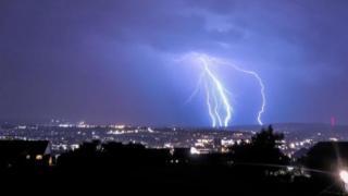 Lightning strikes Blackburn, Lancashire