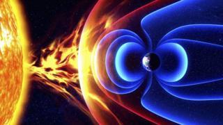 Campo magnético da Terra e o Sol