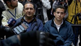 Samuel Morales and Jose Manuel Morales Marroquin, brother and son of Guatemalan President Jimmy Morales, appear before a court at the Tribunal Building, in Guatemala City, Guatemala, 18 January 2017