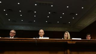 Interim CEO of Equifax Paulino Barros, former CEO of Equifax Richard Smith, former CEO of Yahoo Marissa Mayer, and Deputy General Counsel and Chief Privacy Officer for Verizon Communications Karen Zacharia testify during a hearing before Senate Commerce, Science and Transportation Committee November 8, 2017 on Capitol Hill in Washington, DC.
