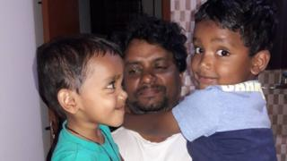 Rajesh Jayaseelan with his two young sons
