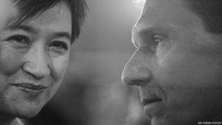 Australian senators Penny Wong and Cory Bernardi at a 29 July, 2015 debate about gay marriage, Canberra, Australia