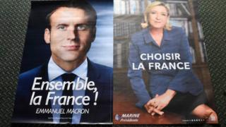 Posters for Mr Macron and Ms Le Pen